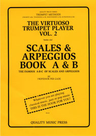 "<strong><font color=""black""> 2A) The Virtuoso Trumpet Player. Vol. 2.</strong> (Treble clef) <br>The Famous A-B-C of Scales and Arpeggios.<br> Book A & B (No. 1 of 2 books).<br></strong><font color=""blue"">Click on picture to read more."