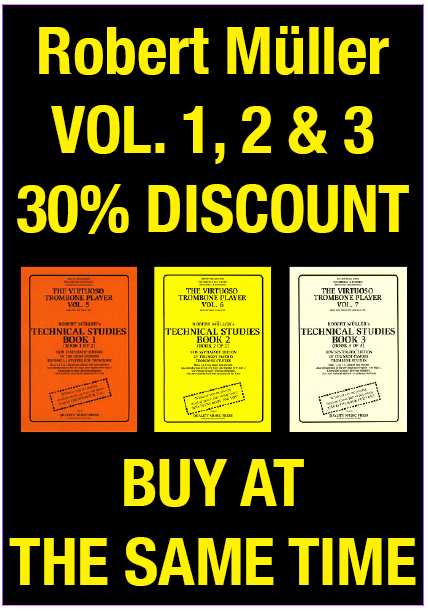 "<strong><font color=""red"">5) 30%.<br>TROMBONE METHODS. (3 BOOKS) <br> ROBERT MULLER's TECHNICAL STUDIES <br> VOL. 1, 2, & 3<br> <font color=""black"">MAIL INCLUDED"